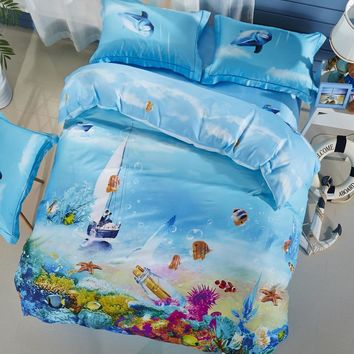 Svetanya Silk Cotton Bedlinen Ocean Print Bedding Sets Duvet Cover Set Full Queen King Size for Kids Teens Adults