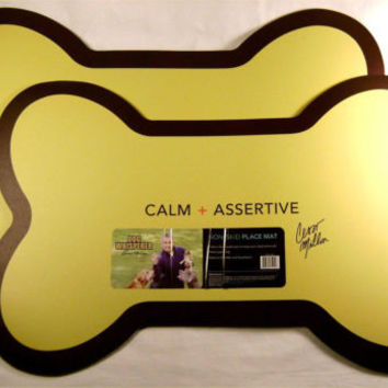 Dog Whisperer Non-Skid Place Mat Set 2 Yellow Pet Food Bowl Protection Puppy NEW