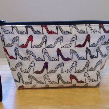 Red Shoes Waterproof Clear Vinyl Covered Zippered Cosmetic Make Up Bag/Pouch/Accessory/Gadget Case/Beach Pool