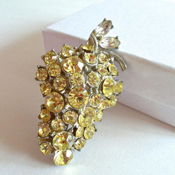 Grape Rhinestone Cluster Brooch-Pin, Jonquil Yellow Fruit, Pewter, Vintage
