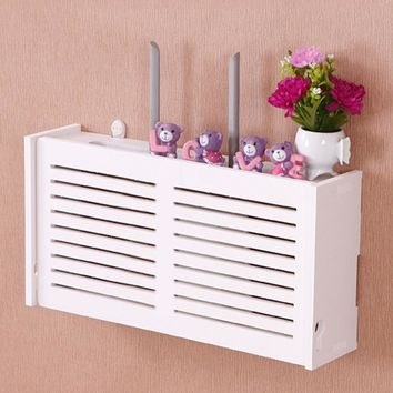 yazi Wifi Router Storage Box Wood-Plastic Shelf Wall Hangings Bracket Cable Organizer M L 2 Size