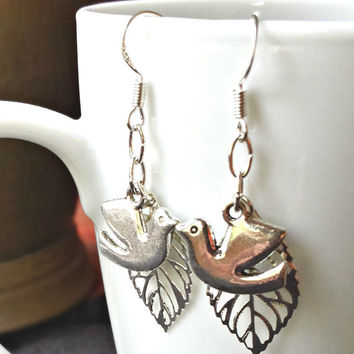 Silver Peace Dove Earrings with Silver Filigree Leaf on 925 sterling silver french wires, free shipping