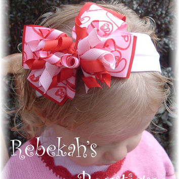 Valentines Day Pink Red Doodle Hearts Hair Bow Headband Bowband OR Clip Infant Toddler Girls Baby Bows Clips Barrettes Love