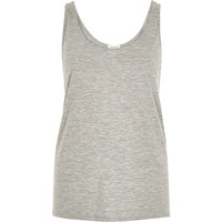 River Island Womens Grey marl scoop neck relaxed fit jersey tank