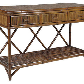 "Pencil Rattan 54"" Console, Mahogany, Console Table"