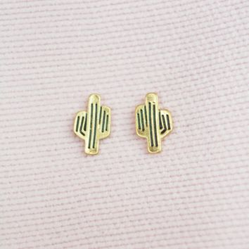 in the desert cactus earrings-gold