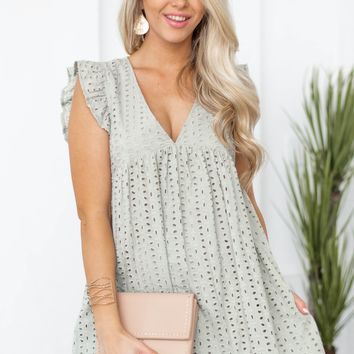 Eyelet Babydoll Dress With Romper Lining
