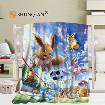 Custom Eevee () blanket Flannel  Fabric 58x80inch 50X60inch 40X50inch Sofa Bed Throw Blanket Kid Adult Warm BlanketKawaii Pokemon go  AT_89_9
