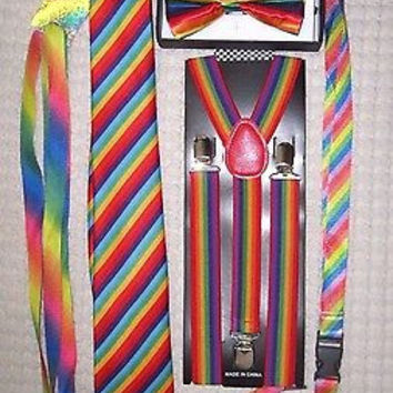 Men's Rainbow Stripes Adjustable Bow tie,Neck Tie,Suspenders,Lanyard,Shoelaces22