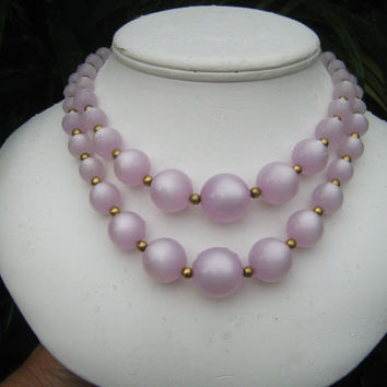 Lavender moonglow 2 strand necklace vintage