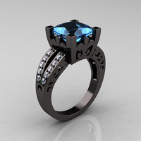 French Vintage 14K Black Gold 3.8 Carat Princess Blue Topaz Diamond Solitaire Ring R222-BGDBT