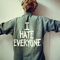 'I hate everyone' Vintage Army Shirt