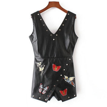 Tangada Fashion Womens Rompers Sexy Faux Leather Embroidery Rivets Playsuits Holiday Hollow Out Sleeveless Tunic Rompers YD151