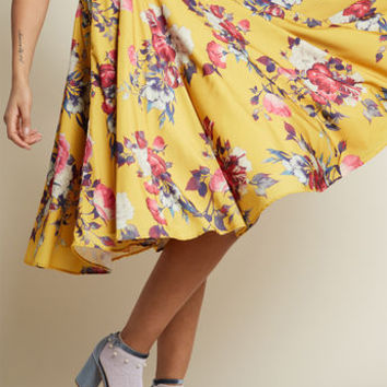 Ikebana for All A-Line Midi Skirt in Saffron Floral