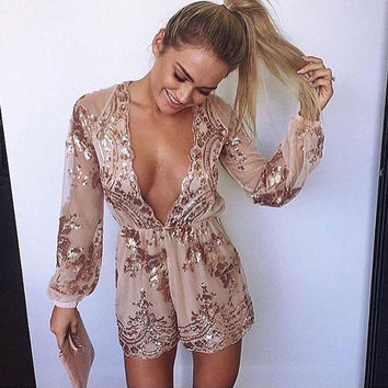 Elegant Women Jumpsuit Sexy Gold Sequin Jumpsuit 2016 Rompers Womens Jumpsuit Deep V Neck Bodysuits Women Long Sleeve Overalls