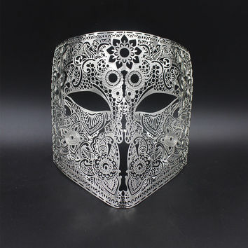 NEW Black Gold White Silver Bauta Metal Venetian Masquerade Mask Midnight Full Face Party Costume Ball Halloween Mardi Gas Mask