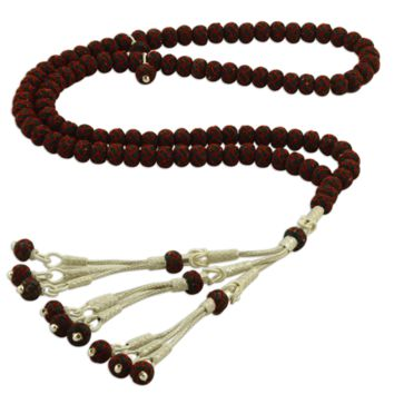 Dark and red 99 prayer beads 1000k sterling silver