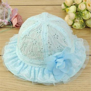 PEAP78W Baby Hollow Out Flower Hat Sun Cap Pure Color Lace Sunshade Summer Beach Bucket Cap