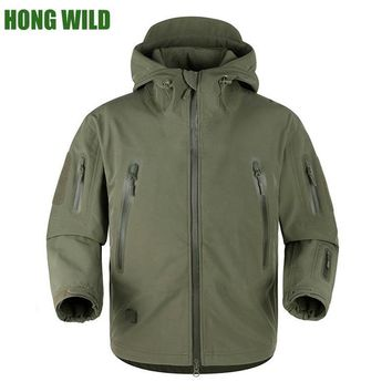 Trendy HONG WILD High quality winter rubber TAD V5.0 Shark Skin Tactical Militar  Waterproof Softshell Coat Mens Army Hooded Jacket AT_94_13