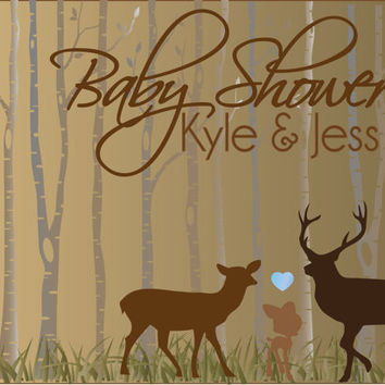 Woodland Deer Baby Shower Invitation / DIY baby shower invitation / Rustic Country Baby shower invites