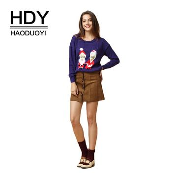HDY Haoduoyi Brand 2017 Christmas Cartoon Santa Claus Print Women Sweater Sweet Knitted Female Ugly Christmas Sweater Pullovers