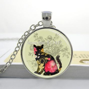 Glass Dome Flower Cat Necklace