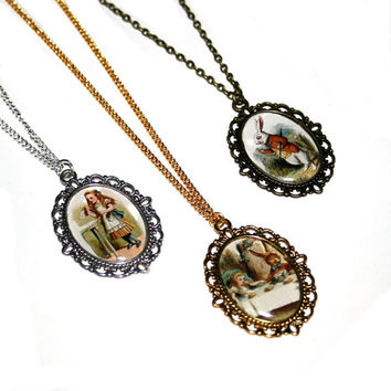 Alice In Wonderland Cameo Necklace, Mad Hatter, Tea Party, White Rabbit, Queen of Hearts