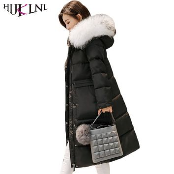 HIJKLNL 2017 Hot Sale Down Jacket Women Winter Down Coats Thick Ladies Warm Outwear Hooded Long Parkas Casacos Femininos HB407
