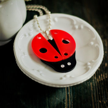 Ladybug Necklace,Ladybug Jewelry,Kawaii Necklace, Lasercut Acrylic,Gifts Under 25