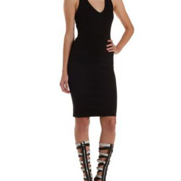 Black Caged-Back Plunging Bodycon Dress by Charlotte Russe