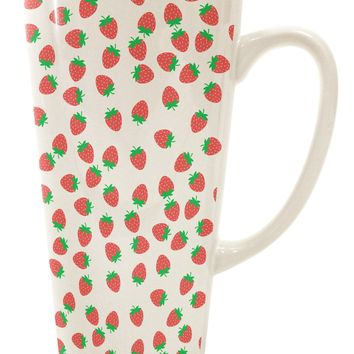 Strawberries Everywhere 16 Ounce Conical Latte Coffee Mug by TooLoud