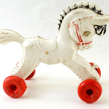 Vintage Horse Toy,1950s Empire Plastic,Shabby Spooky