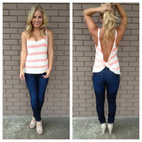 Coral Stripe Knot Back Knit Top
