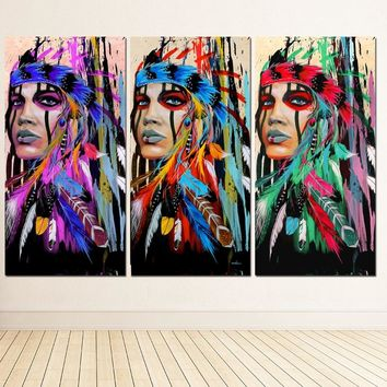 Modern Native American Indian Girl Feathered Canvas Painting For Living Room Wall Art Prints Home Decor free shipping Unframed