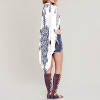 Women White/Navy Medallion Print Rounded Kimono Cardigan Coverup O/S