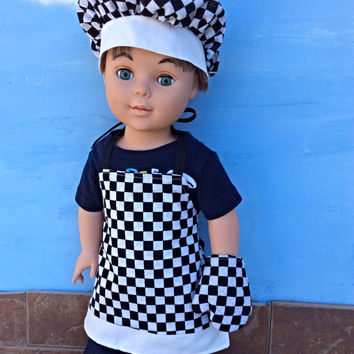 18 Inch Boy Doll Clothes, Race Day Chef's Set, Black and White Checked Apron, Chef's Hat and Oven Mitt