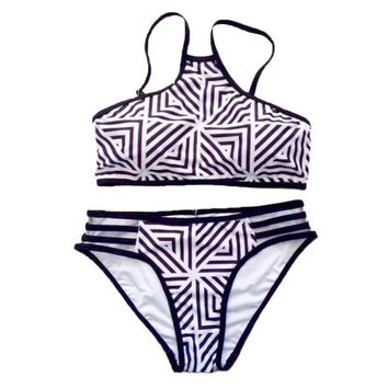 Prism High Neck in Classic Black & White Side Cut-out Bikini