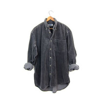 Corduroy Rib Shirt Dark Grey 90s Long Sleeve Button Up RIBBED Shirt Slouchy Grunge Gray Top 1990s Cotton Shirt Mens Medium