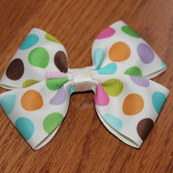 Pastel Polka Dots hair Bow - Pink, blue, orange, purple, brown pastel hair bow. 3.5 inch wide hair bow made with grosgrain ribbon.