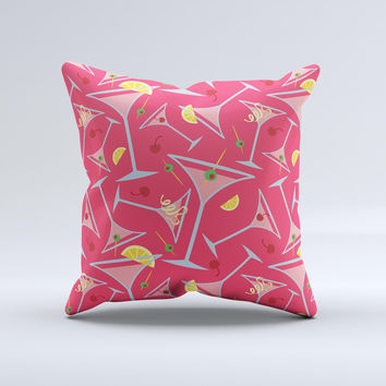 Red Martini Drinks With Lemons Ink-Fuzed Decorative Throw Pillow