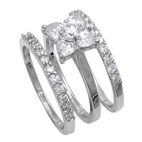 Wedding Ring Set (Sterling Silver, Rhodium Plated) - Flower with Clear CZ and Prong Sets - 9 x 6mm (Size 6)