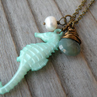 Seahorse Necklace, Nautical, Green, Sea, Ocean, Beach Jewelry