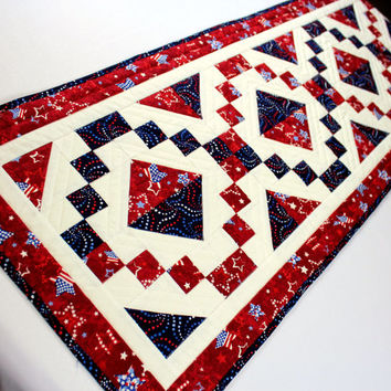 Large Patriotic Quilted Table Runner - Red, White and Blue Table Topper, 4th of July Table Decor Quilt, Jewel Box Quilt, Independence Day