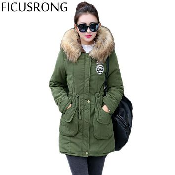 FICUSRONG New Long Parkas Female Women Winter Coat Thickening Cotton Winter Jacket Womens Outwear Parkas for Women Winter TFR4