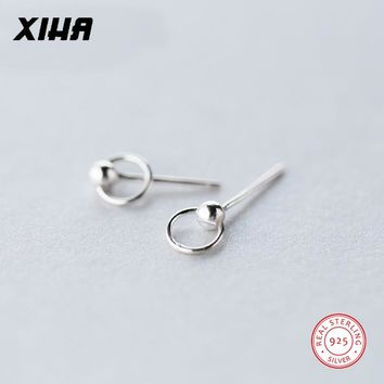 XIHA Real 925 Sterling Silver Earrings for Women Rotatable Round Beads Stud Earring Christmas Gift Earings Fashion Jewelry 2018