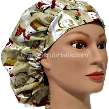 Women's Bouffant, Pixie, or Ponytail Surgical Scrub Hat Cap in Christmas Snowmen on Tan