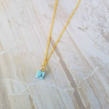 Cubic Marble Charm Necklace- 16k gold plated