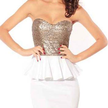 White Sequined Backless Mini Dress