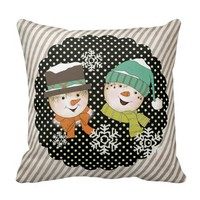 Snowmen Dots and Stripes Holiday Pillow