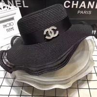 ONETOW Chanel' Women Temperament Rhinestone Letter Arc Edge Gauze Large Straw Cap Sun Sunscreen Hat